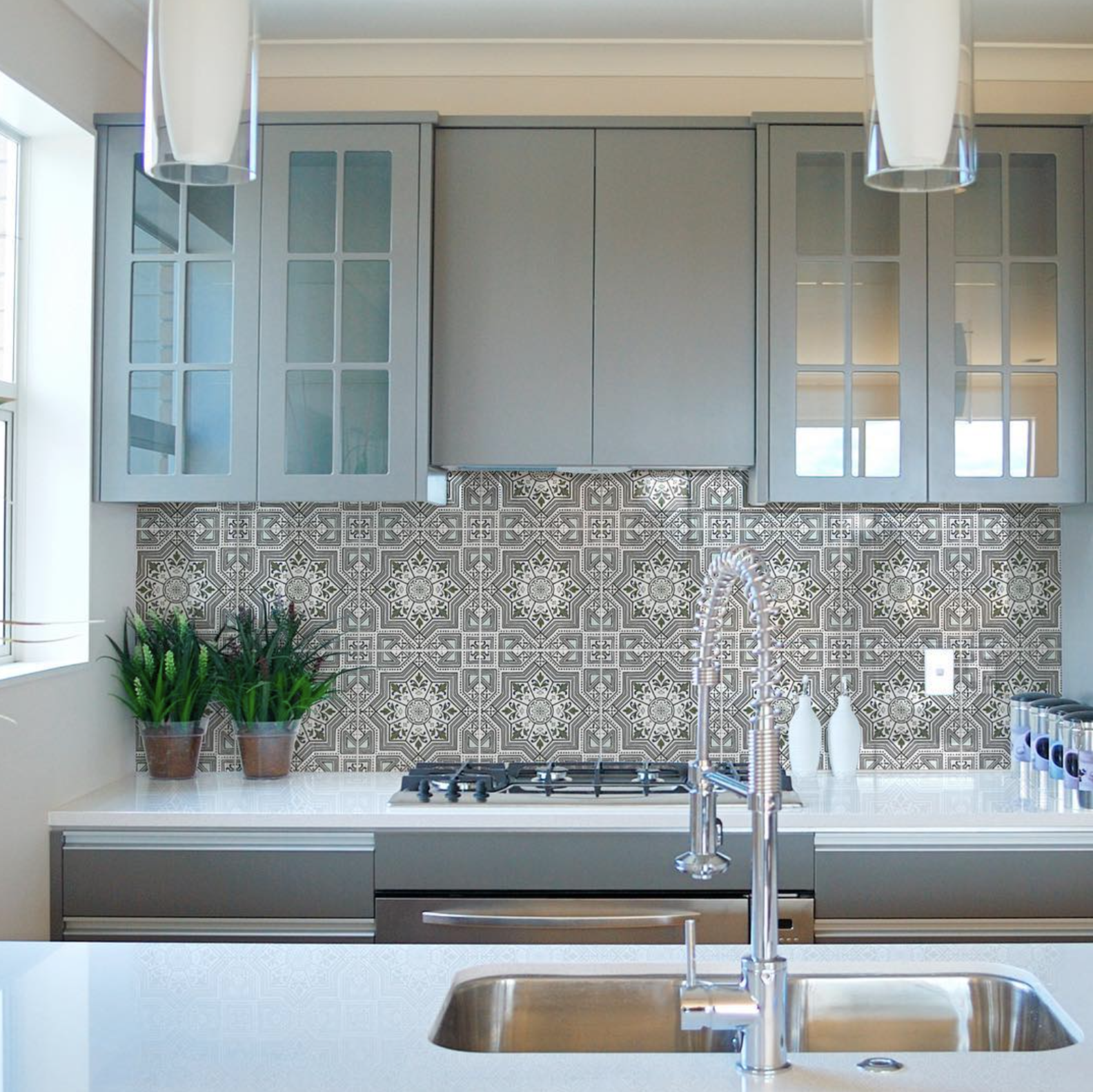Stone Impressions tiled backsplash brings so much to this kitchen ...