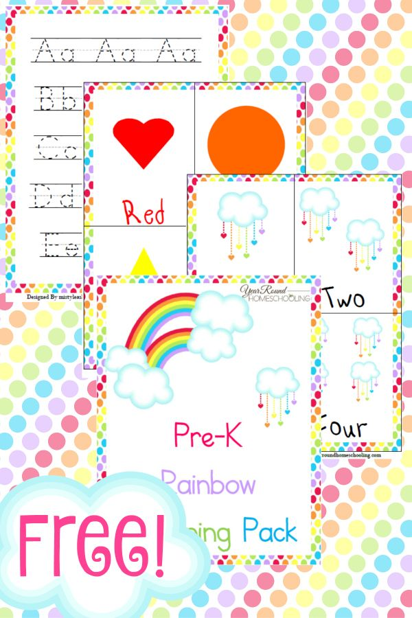 Free Rainbow Learning Pack (Pre-K
