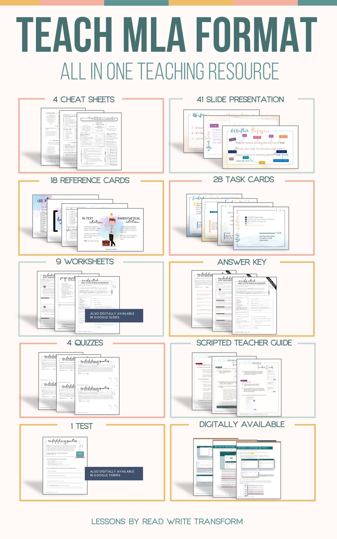 Mla Format Bundle Worksheets Presentation Task Cards