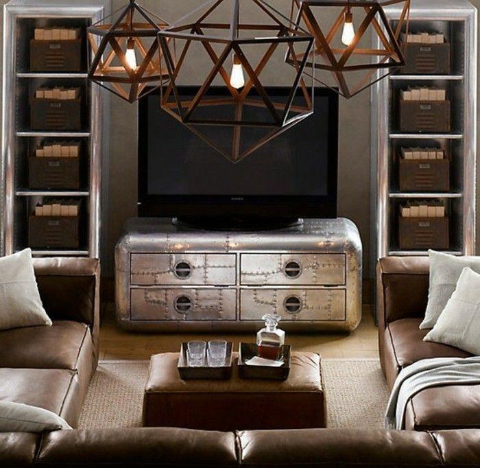 2industrial Möbel Fernsehschrank Metall Antik Regale Metall Eckcouch Leder  Braun Weiße Kissen Weiße Decke