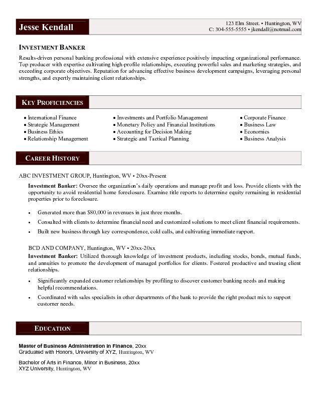 Investment Banking Resume - http://www.resumecareer.info/investment ...
