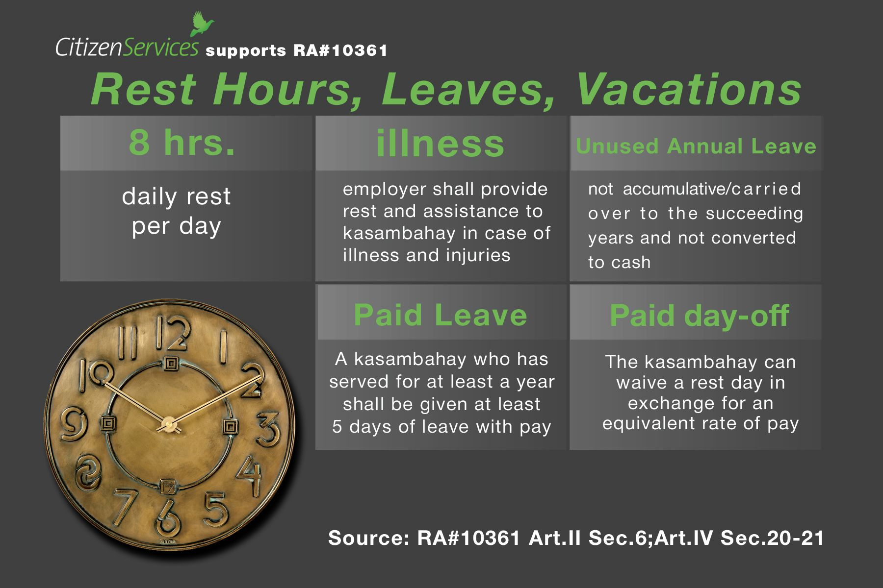 8 Days On 6 Days Off Work Schedule the kasambahay law regarding rest days, vacation and leaves