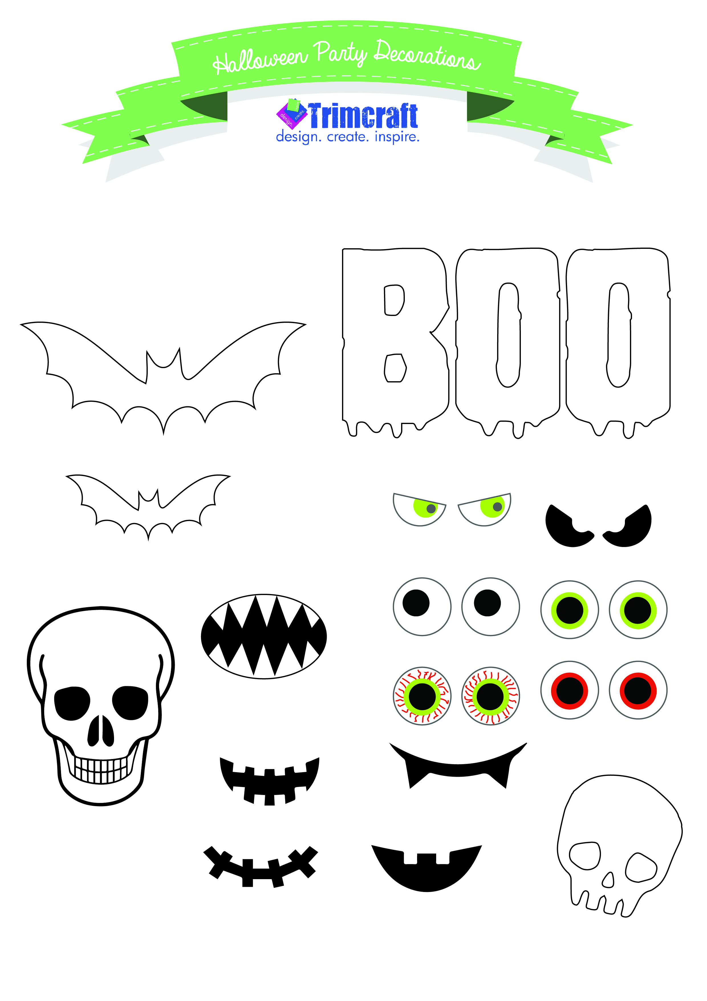 diy halloween party craft ideas with tutorials and free printable decorations template - Halloween Decoration Templates