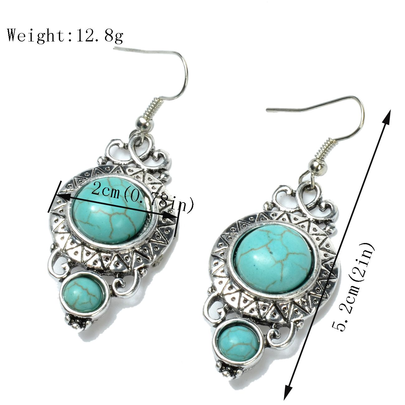 Silver Plated Long Turquoise Drop Earrings