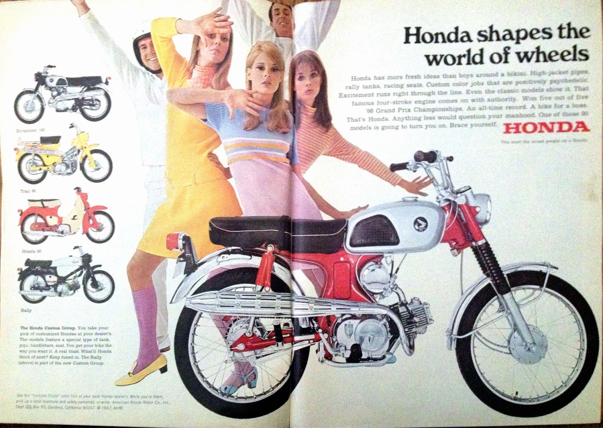 vintage honda motorcycle ad | motoring advertising | pinterest