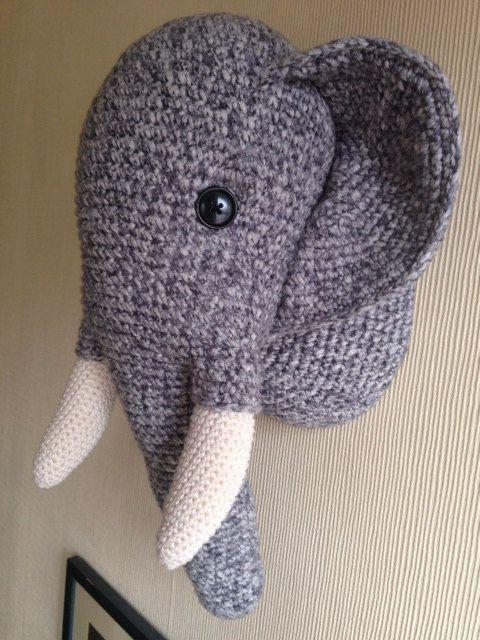 Crochet Elephant Wall Hanging Trophy Head Ideal Present