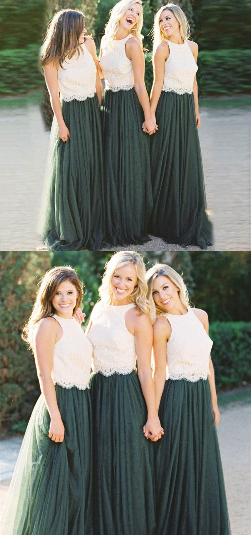 Aline round neck dark green pleated bridesmaid dress with lace in