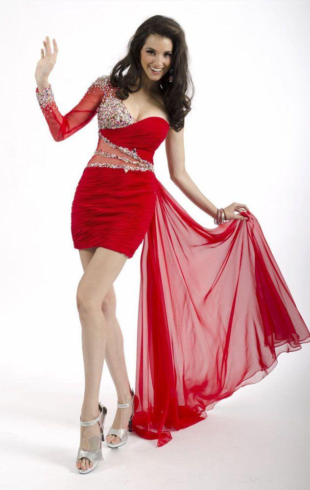 vestidos de fiesta cortos rojos con negro tiras de color rojo/negro ...