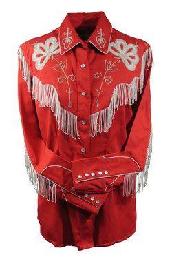 retro western shirt with fringe  09b916e69