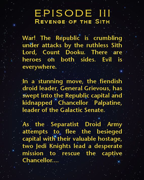 textual analysis of star wars revenge Entertainment media analysis report  the full text appears at the end of the summary / commentary  star wars: episode iii - revenge of the sith presents .