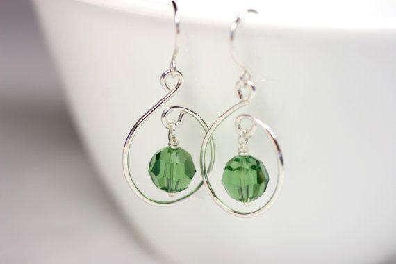 Green Swarovski Earrings Wire Wred Jewelry Handmade Sterling Silver Crystal