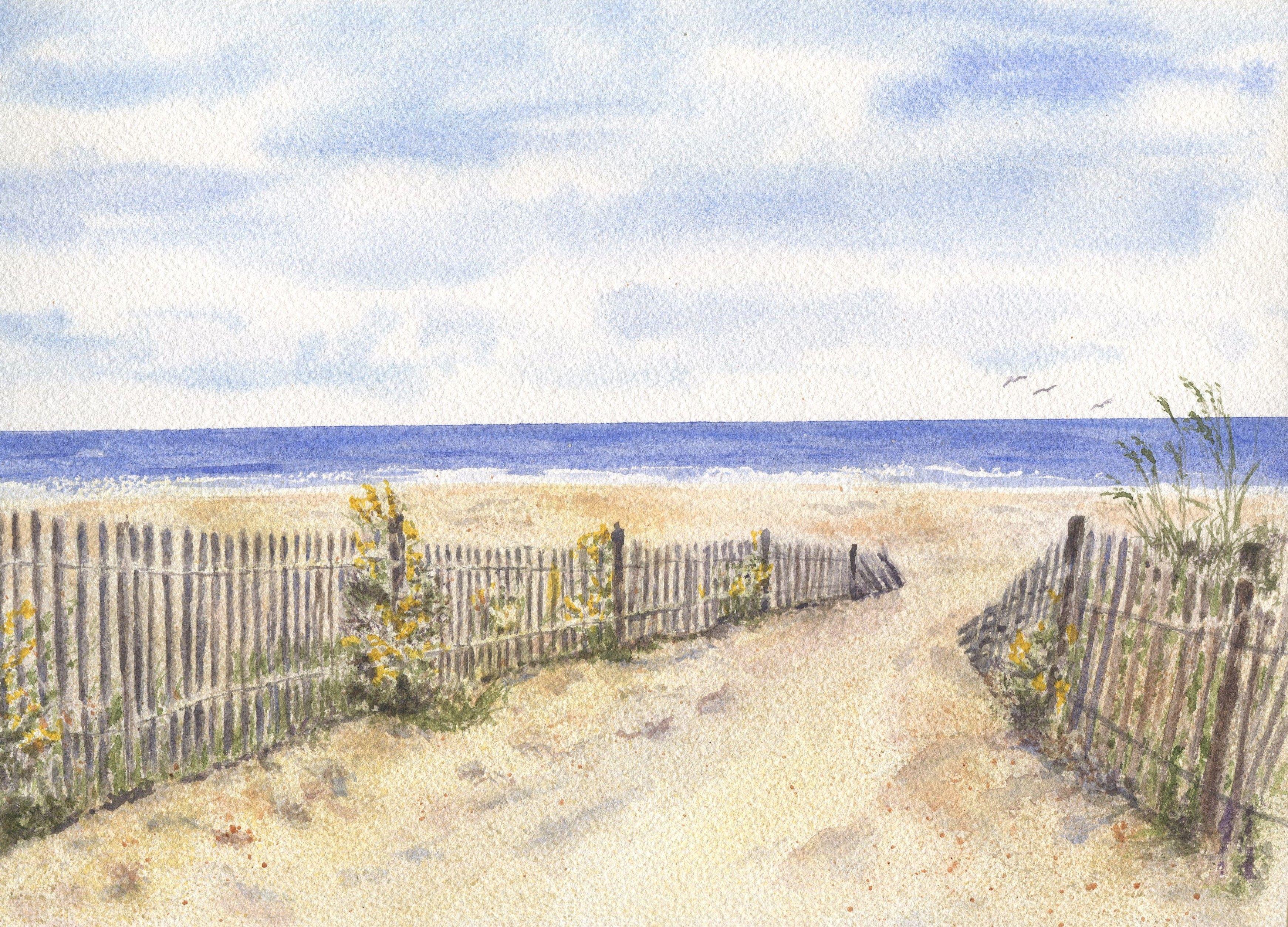 Beach Path Watercolor Painting Beach Dune Ocean Home Decor Beach