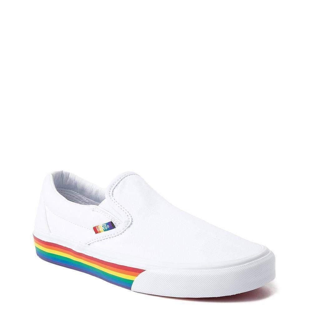 NEW Vans Slip On Rainbow Skate Shoe Multi Color Pride Womens