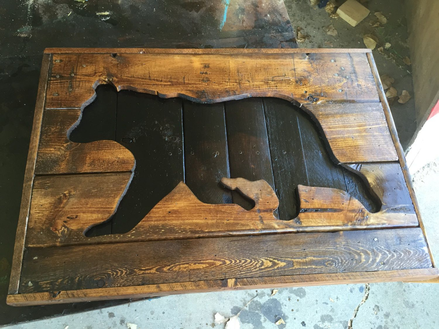 Wooden Black Bear Silhouette Pallet sign- Hunting decor wood ...