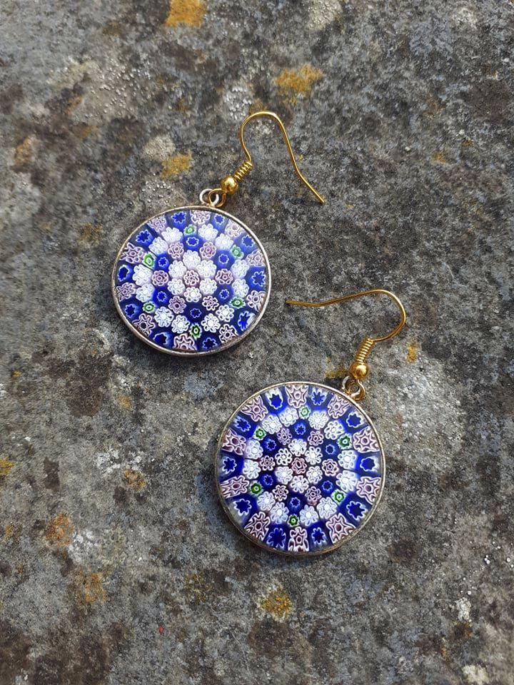 Vintage Green Floral Flower Handmade Murano Glass Round Ball Dangle Earrings Golden Plated