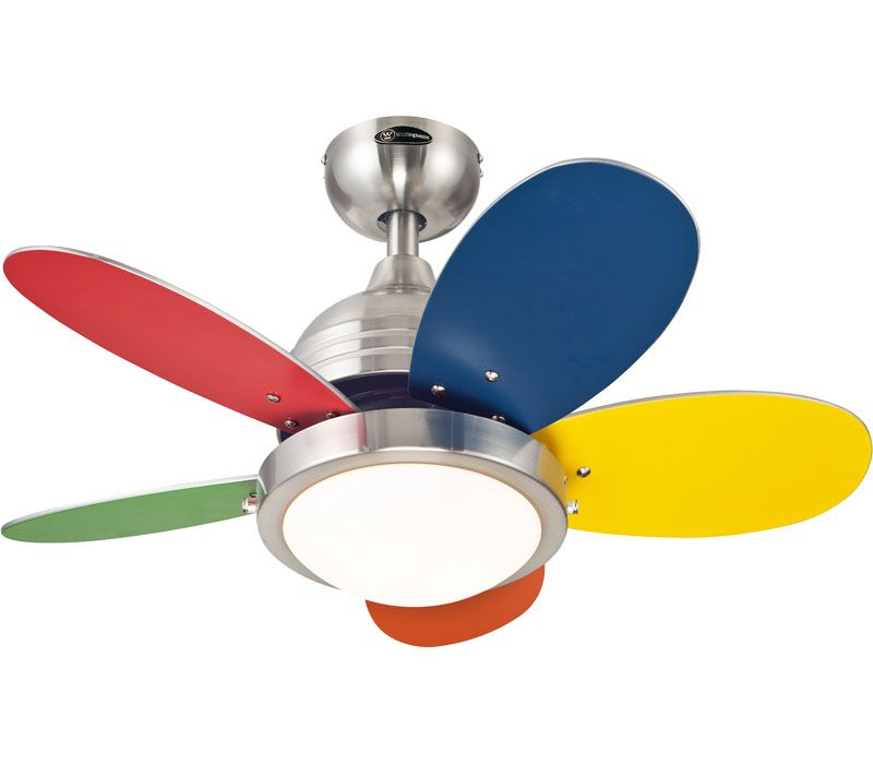 Westinghouse 7247500 Roundabout Brushed Nickel Kids 30 Ceiling Fan With Light