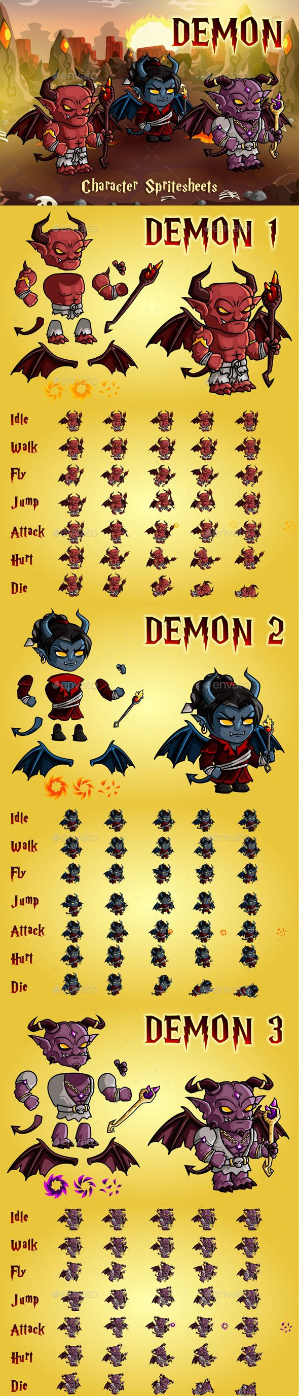 Demon 2D Game Character Sprite Sheet - #Sprites #Game