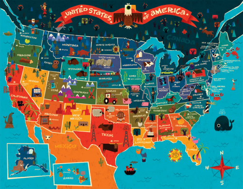 USA Map for Kids | United states map, Map art, America