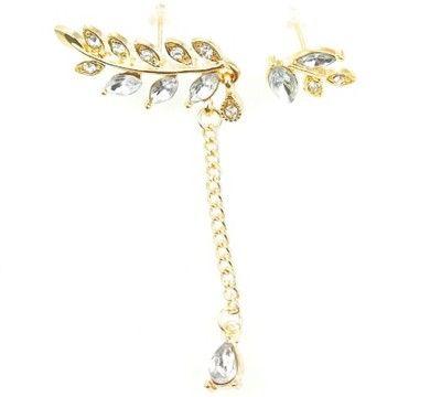 Komplet Kolczykow Nausznica Krysztalowe Listki New Fantasy Fashion Jewelry Belly Button Rings