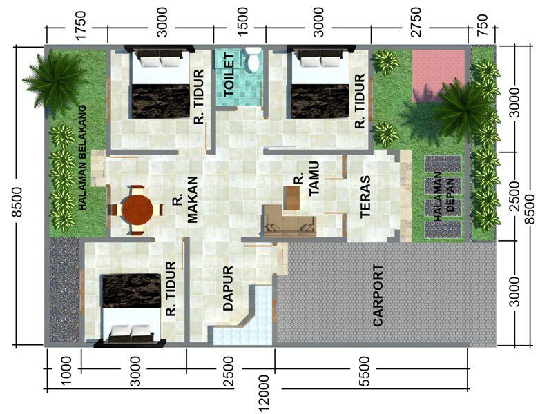 contoh denah rumah minimalis 3 kamar tidur