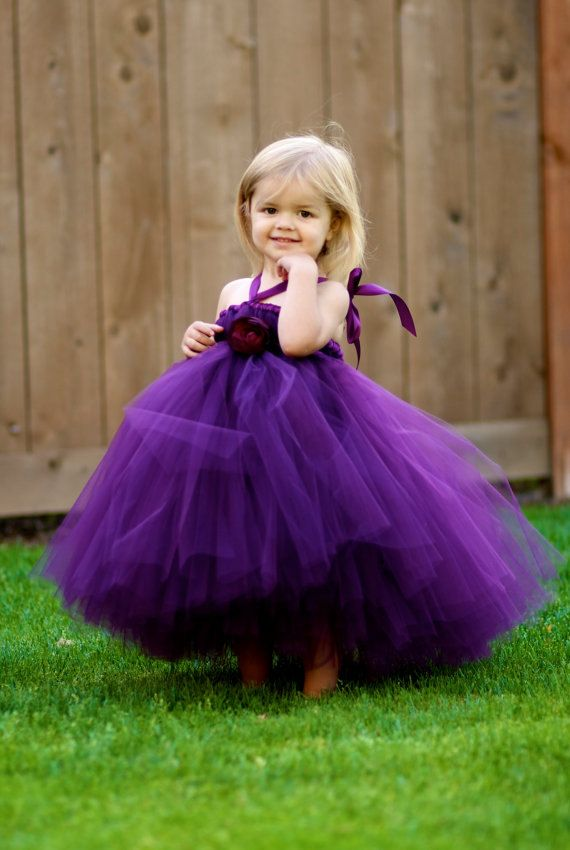 895ada48c Purple tulle ball gown for cute toddler. Tutu flower girl dress in purple,  with halter strap.