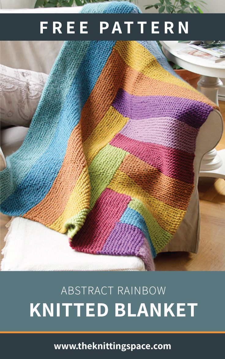 Abstract Rainbow Knitted Blanket [FREE Knitting Pattern]