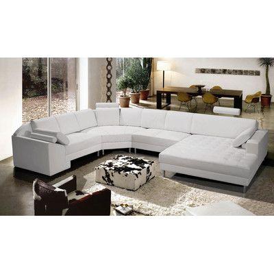 Orren Ellis Bertha 148 Sectional Wayfair Modern Sofa Sectional Modern Leather Sectional Sofas Modern Bonded Leather Sectional Sofa