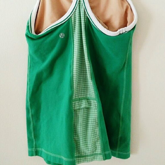 Lululemon green checkered mesh racerback Perfect condition, no signs of wear, mesh checkered back with key pocket lululemon athletica Tops