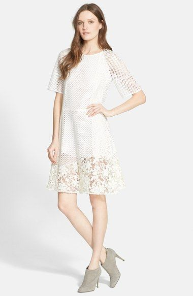 77067d267f See by Chloé Mixed Lace Short Sleeve Dress available at #Nordstrom ...