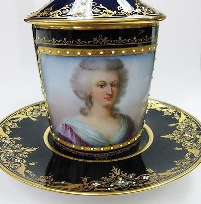 Antique Sevres Chateau Des Tuileries 1846 Covered Lidded Coffee Tea Cup Saucer | eBay
