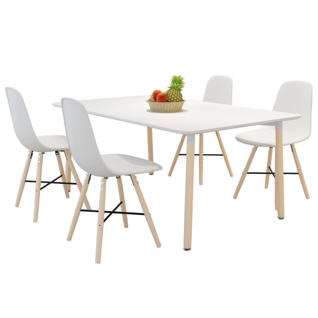 White 4 Piece Hard Wood Dining Room Chair Set Modern For Kitchen