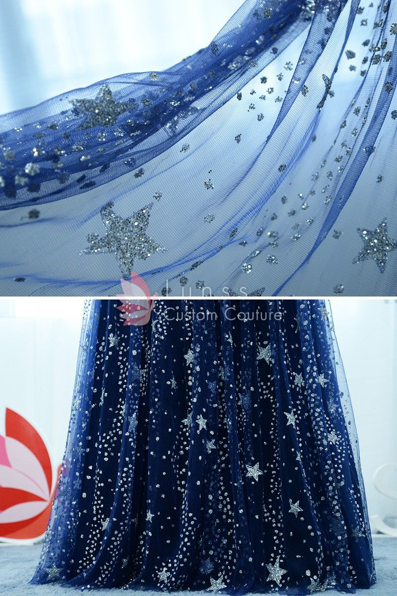 Stunning Stars Moons Beaded Long Navy Prom Dress Starry Night Prom Starry Night Wedding Night Sky Wedding [ 1200 x 800 Pixel ]