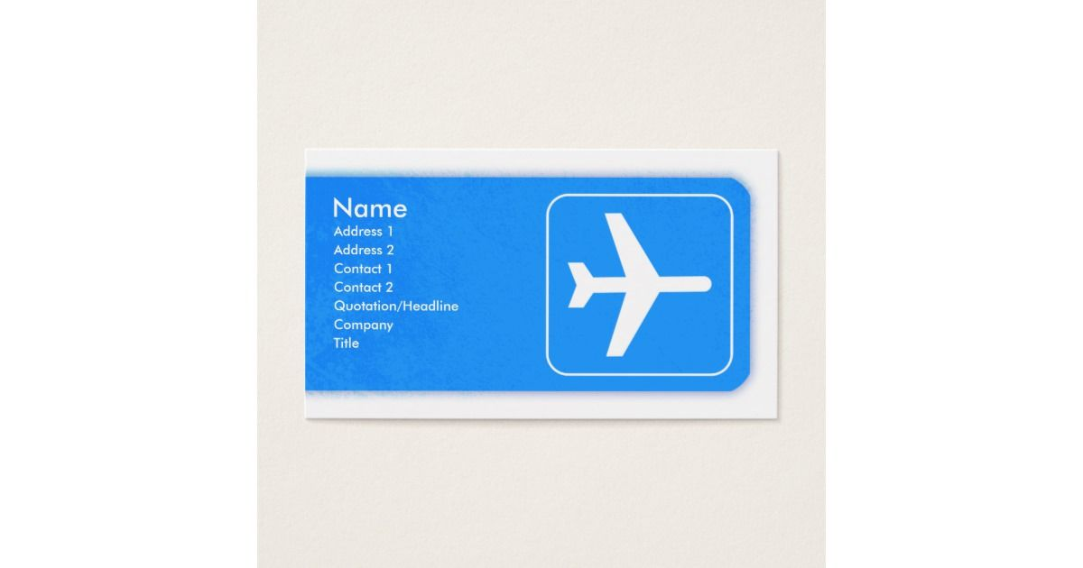 Airplane Business Card template | Card templates, Aeroplanes and ...