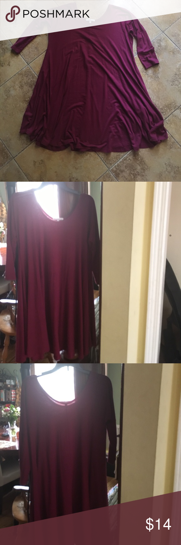 Gorgeous Charlotte Russe Dress! A cute burgundy dress bought from Charlotte Russe. Tight on top and a flowy skirt on bottom. Fabric is pretty lightweight and only a little sheer. Quarter sleeves, and the skirt goes to the knees on the right fit. Only ever worn once. No wear or tear. Charlotte Russe Dresses Long Sleeve