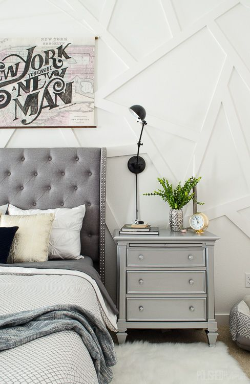 This silver nightstand was a diy that works perfectly in for Silver bedroom ideas