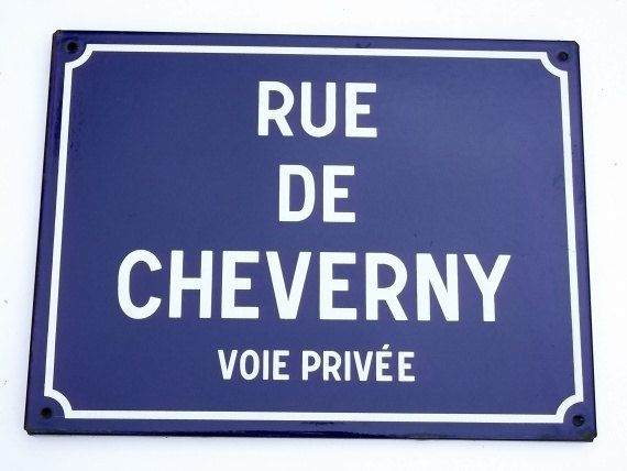 CHEVERNY Vintage French  Plaque Sign street