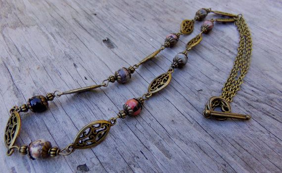 Luxe Harvest Antiqued Brass Multi Jade Necklace by McHughCreations, $30.00