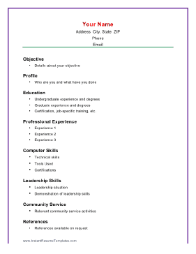 This Printable Resume Template Puts The Emphasis On Academic