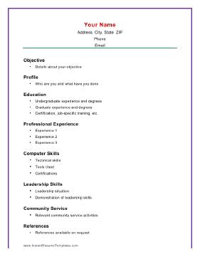 Basic Academic Resume Template Computer Skills Resume Basic Resume Resume Skills