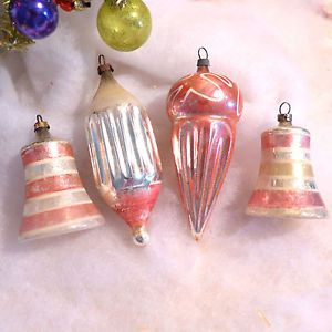 Antique-Germany-Figural-Pink-Blown-Glass-Xmas-Ornament-Lot-Cone-Bells-Fluted