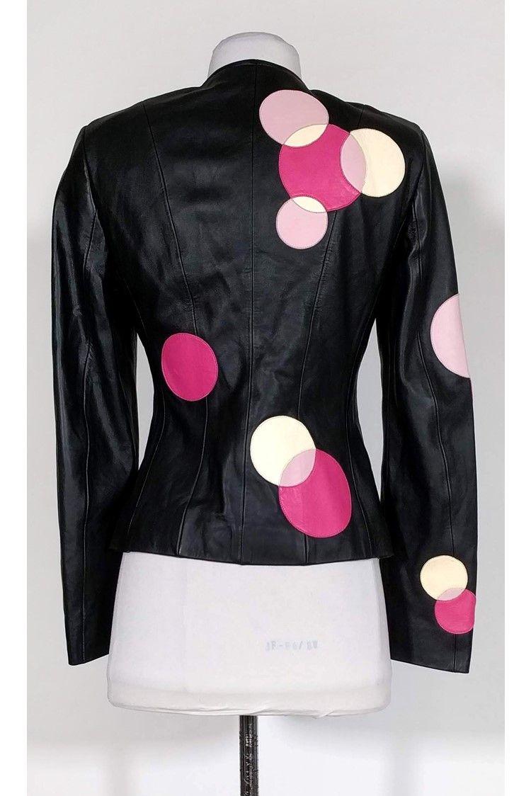 Escada Black Leather Jacket W Circles Sz 4 Ad Ad Leather Black Escada Sz Circles Fashion Black Leather Jacket Black Leather [ 1124 x 750 Pixel ]