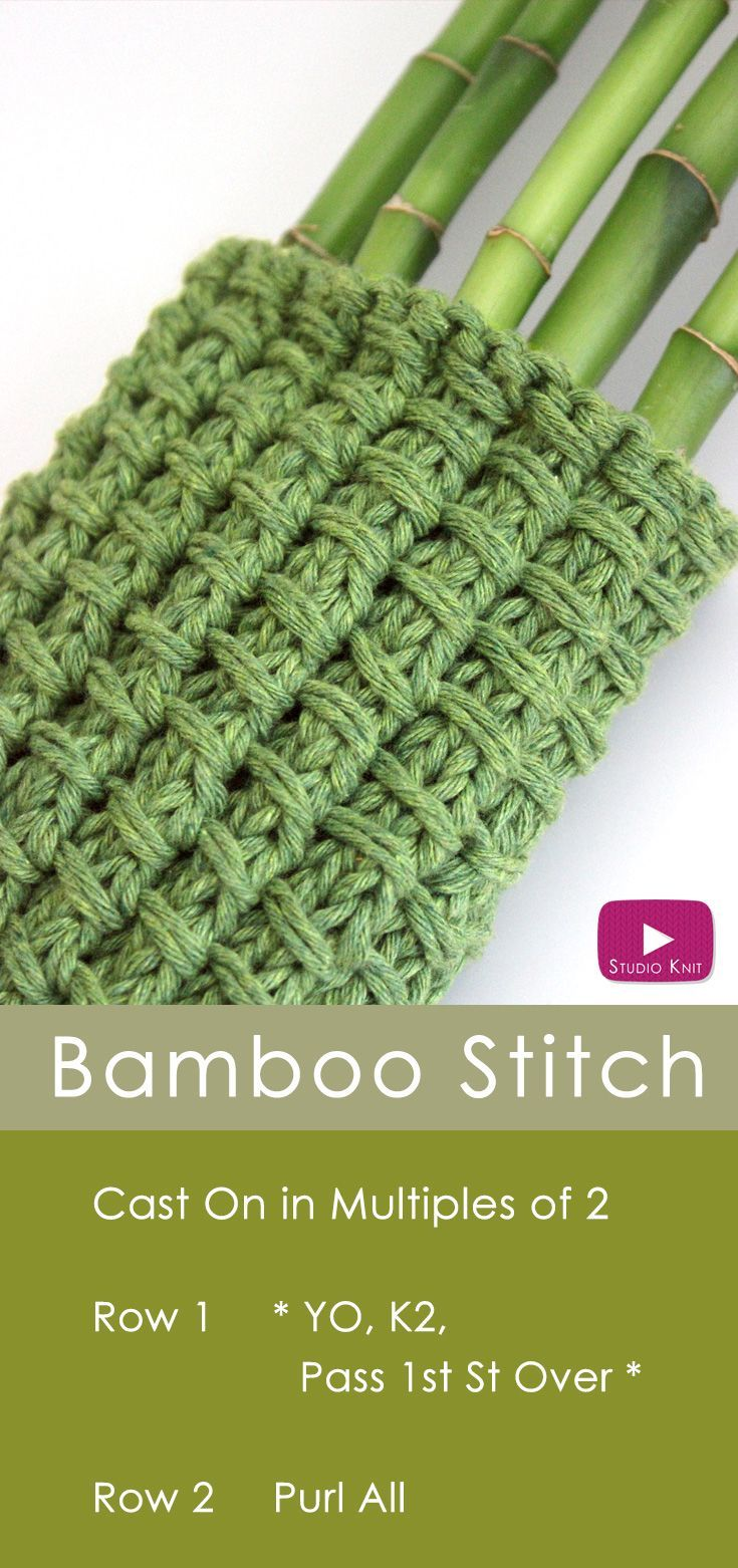 How to Knit the Bamboo Stitch Pattern   Knitting and crochet ...