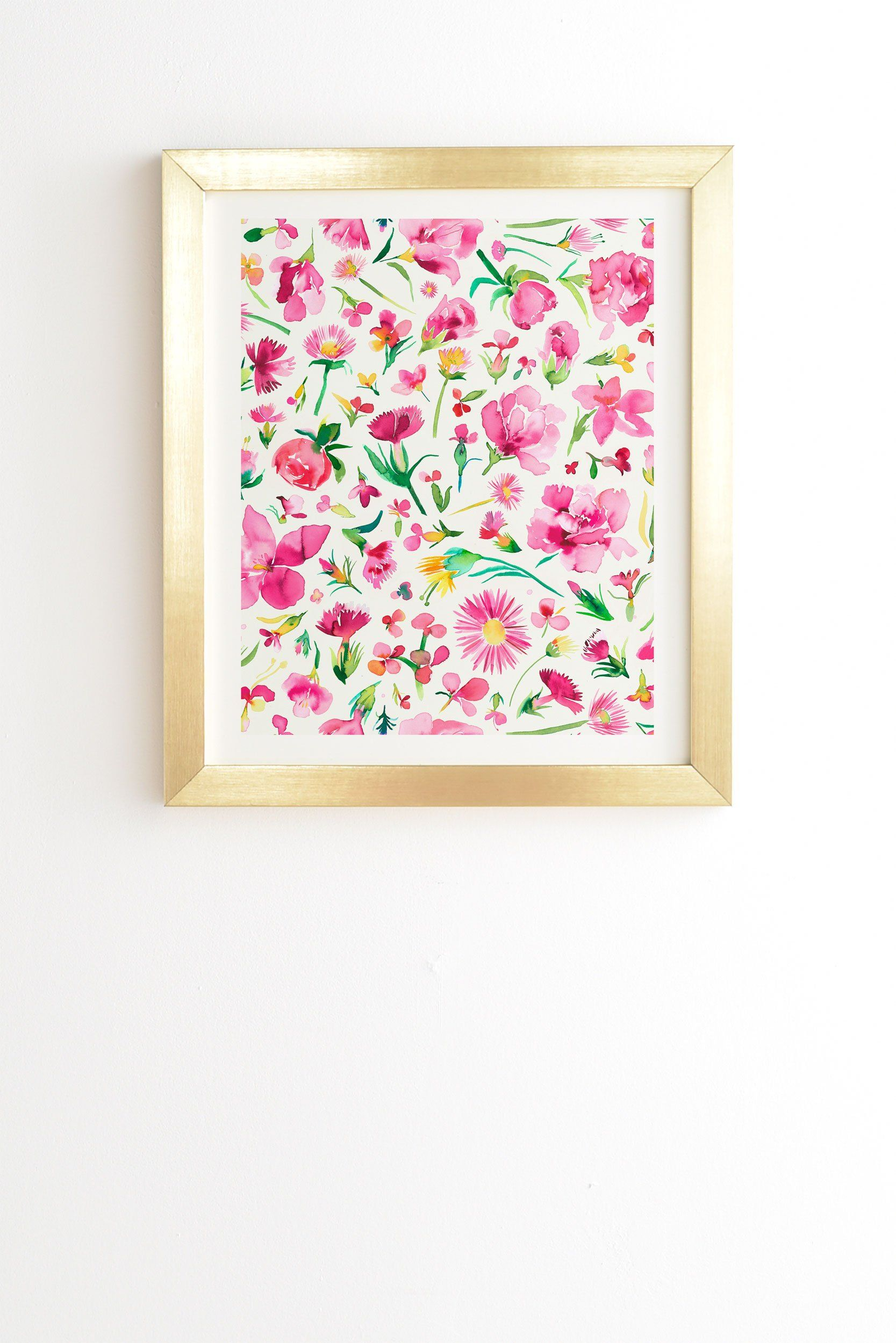 Flower Buds Pink Gold Framed Wall Art Ninola Design Home Ideas