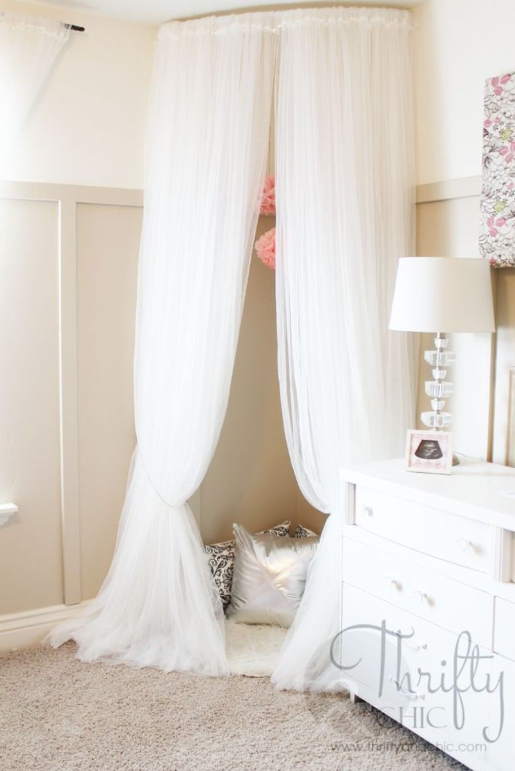 whimsical canopy tent or reading nook made from curved curtain rod and ikea curtains good idea for a kid bedroom
