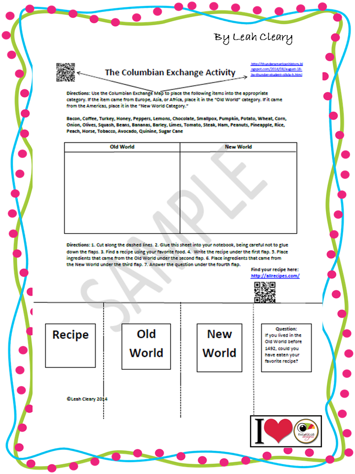 This simple worksheet reinforces a lesson on the Columbian