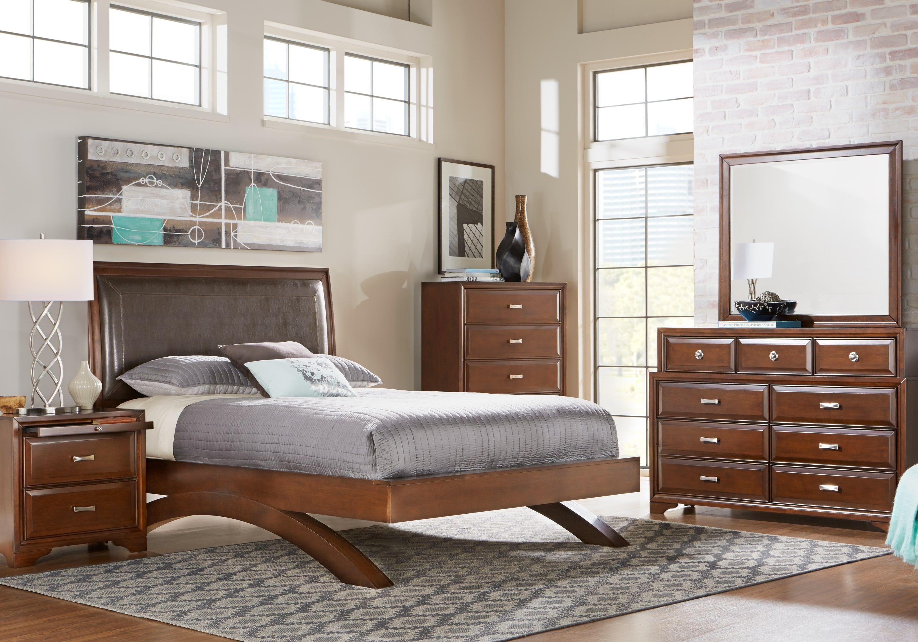 belcourt cherry 7 pc queen platform bedroom  king bedroom