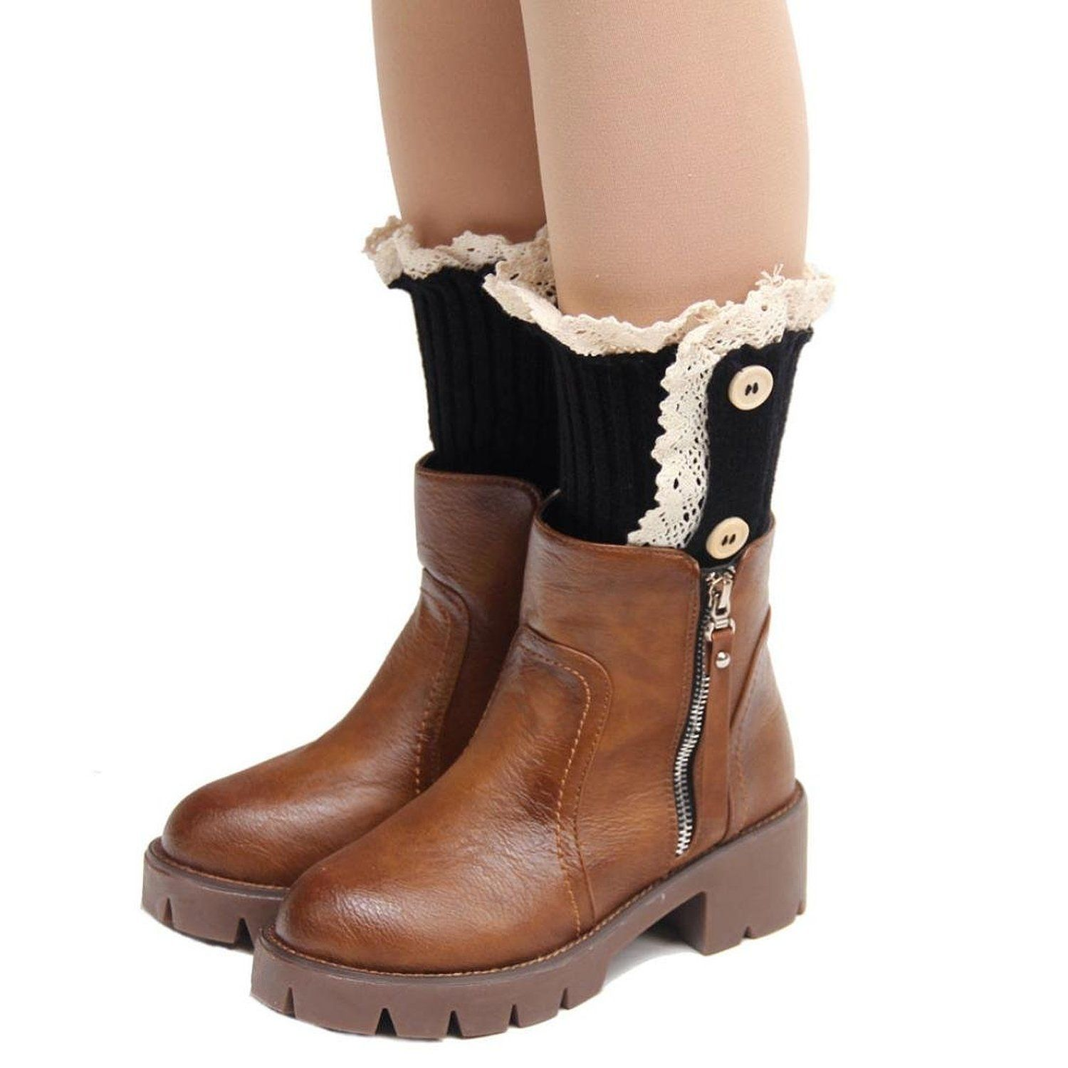 Dzt womenus girlus short button leg warmer boot cuffs socks