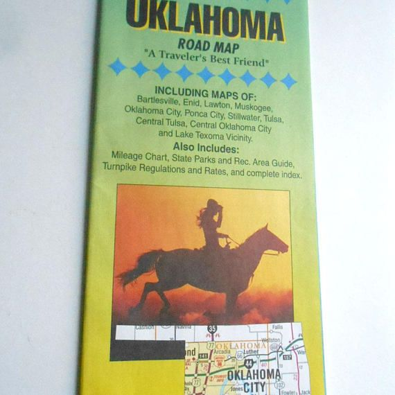 Vintage Diamond Cartography Oklahoma Road Map Tourist Guide Vintage