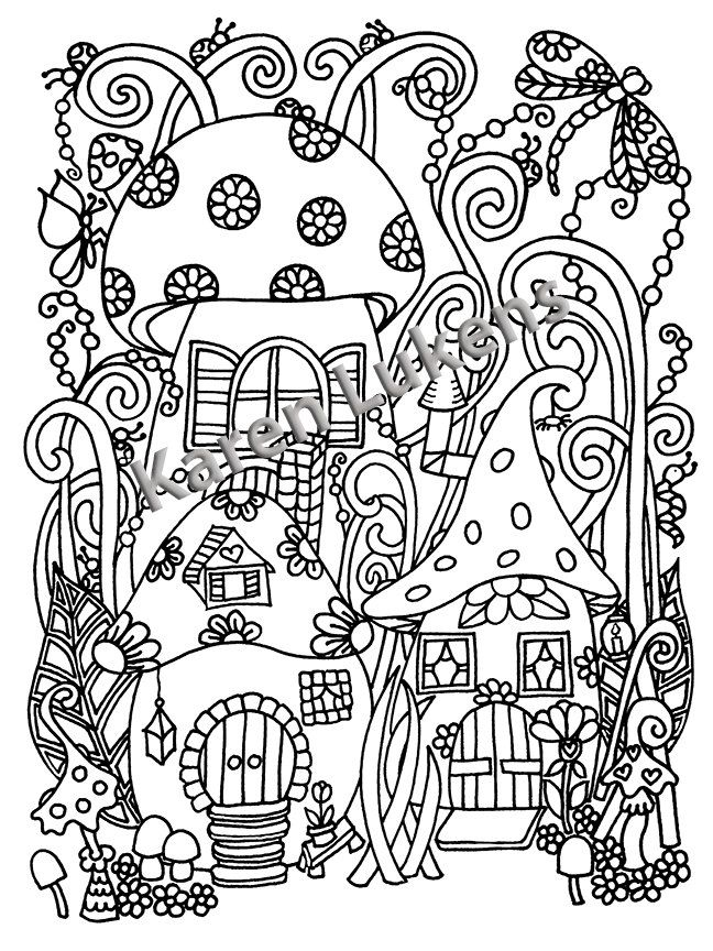 Happyville Mushies Adult Coloring