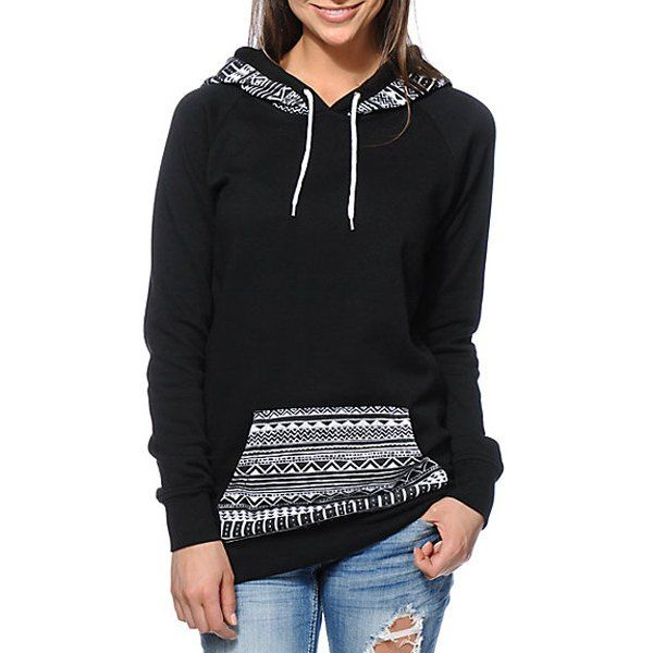 Chic Hooded Long Sleeve Geometric Print Women's Hoodie | Drop ...